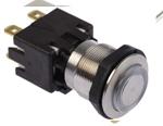 Comutator buton cu apasare 124.168.241.124.000, negru, montare pe panou, protectie IP64, configuratie contact DPDT, diametru 19mm